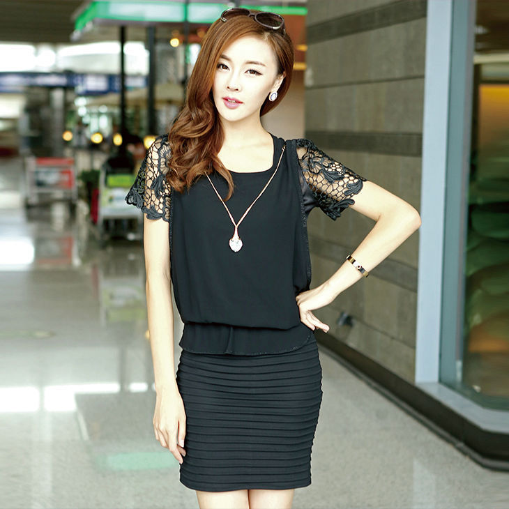 Summer Women Clothing Chiffon Sheath Mini Short O-Neck Lace Solid Hollow Out Casual Korea Dresses Skirts Free Shipping(China (Mainland))