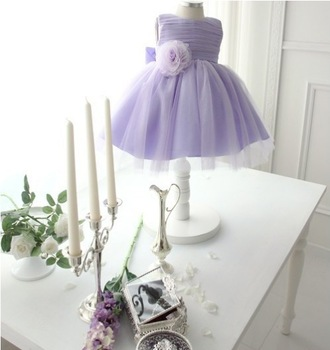 2013Fashion Korean Style High-grade Noble Flower Girl Dresses Girls Ball Gown Tulle Princess Dress Purple and Light Blue 2Colors