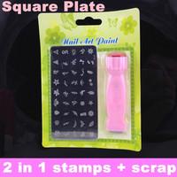 DIY Nail Art Stamping Set Stamping Nail Art Kit Nail 2 in1 Stamp + Scraper and Square Image Plate + Free Shipping
