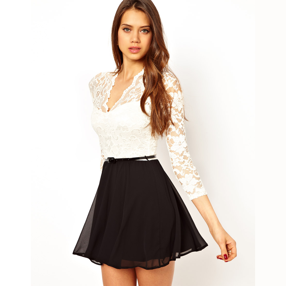 Womens long sleeve lace dress with black chiffon patchwork and belt