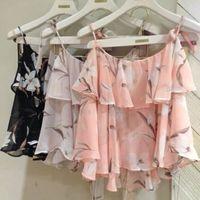 Free Shipping Snidel sweet flower bow lacing chiffon shirt spaghetti strap vest twinset short design top