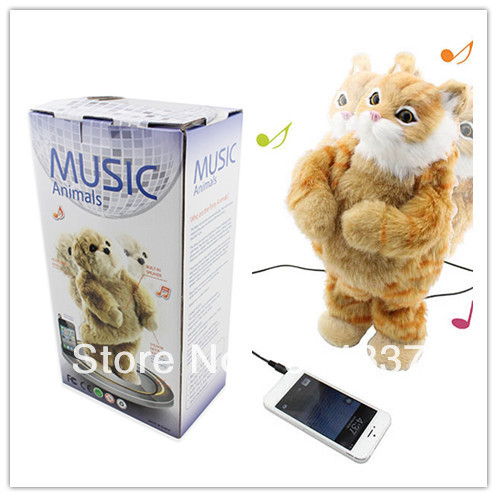 Battery Operated Toy Singing Dancing Cat ,PLush Toy ,Children's gifts with retail package Free Shipping(China (Mainland))