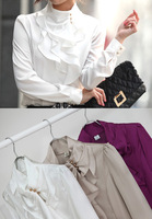 New OL Lady Korea Stand Collar Ruffles Flounce Shrug Blouse Top 3 Colors