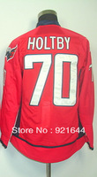 Free Shipping -#70 Braden Holtby Men's Authentic Home Red Hockey Jersey