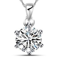 Fashion 925 Sterling Silver Jewelry Classic Simple CZ Cubic Zirconia Stones Women Pendant Necklace Birthday gift
