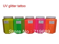 Free shipping 0.5 KG/Barrel UV Glitter Tattoos Powder for Body Art - Temporary Tattoo /Body painting /Airbrush tattoo
