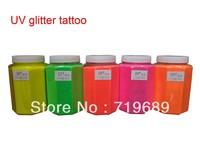 Free shipping 0.5 KG/Barrel UV Glitter Tattoos Powder for Body Art - Temporary Tattoo /Body painting /Airbrush tattoo