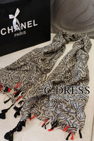 2013 spring and summer new arrival fashion abstract geometric figure silk scarf travel neon tassel large cape scarf x76