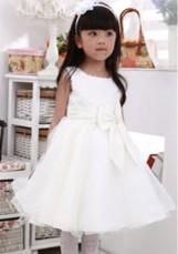 Free Shipping Fashion Korean High-grade Noble Flower Girl Dresses Girls Ball Gown Tulle Big Bow Dress Performance Dress 7Pcs/Lot