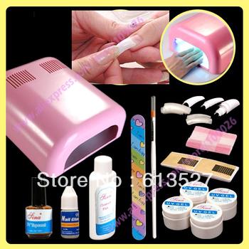 Nail Art Manicure Decoration 36W UV Pink dryer lamp Nail Art Kit gel tools Set Free Shipping