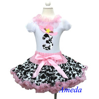 3rd Birthday Light Pink Cowgirl Pettiskirt White Short Sleeves Top Party Dress 1-7Y