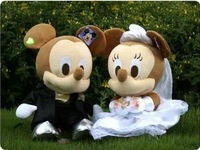 wholesale and retails freeshipping mikey mouse plush toy Wedding dress mickey Minnie doll lovers 1pair/lot