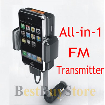Free Shipping New Car FM Radio Transmitter Charger Holder Handsfree Kit For iPhone 4 / 4S / ipod touch(China (Mainland))