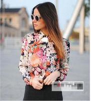New Stand Collar Button Chiffon Flower Print Long Sleeve Tops Blouses Shirt D
