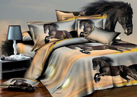 Hot and discount !3D Oil painting horse 3d oil painting,4pc bedding set without filler,oil painting horse bed sheet ,queen size
