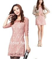 Free Shipping Slim Plus Size Hollow Half Sleeve Lace Dress Lady Dress 6 Color S M L XL XXL XXXL