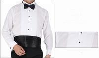 Free shipping!Brand White Men's Clothing Long Sleeve Bridegroom Wedding Tuxedo Shirt Size S-5XL