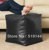 Free shipping wholesale waterproof square footstool, faux leather footrests,black relax ottoman, home furnitures