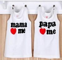 Summer Baby T-shirt Baby New I Love Papa Mama White Children's Tops Kin's Cotton Infants Vest Freeshipping