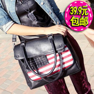 womens punk rock series of american US USA flag rivet high quality PU shoulder messenger bag handbag(China (Mainland))