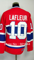 Free Shipping -#10 Guy Lafleur Men's Classic Vintage Home Red Throwback Hockey Jersey