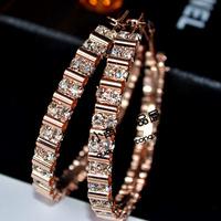 2013 New Style Fashion Crystal Large Hoop Earrings Anti-allergic Popular Accessories Wholesale Big Circle Earrings