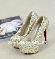 2013 fashion Crystal paillette wedding bride shoes dinner party ultra high heels platform elevator gold pumps hanmade shoes