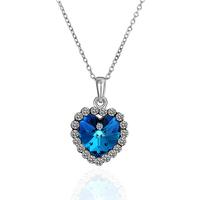 Bijoux Aliexpress Hot Sale Fashion Jewelry Crystal Imitation Sapphire  Wedding Necklace 18KRGPN482