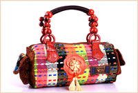 Vintage Indian Bucket Canvas Handbag Tote Bag Women Shoulder Handbags Wooden Handle Tassle Multi Color Handicraft Chrismas Gift