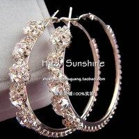 2013 New Style Crystal Large Hoop Earrings Anti-allergic Popular Accessories Wholesale Big Circle Earrings