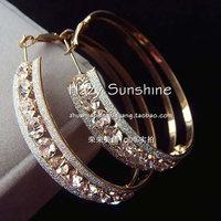 Free 2013 New Style Fashion Big Crystal Large Hoop Earrings Anti-allergic Popular Accessories Wholesale Big Circle Earrings