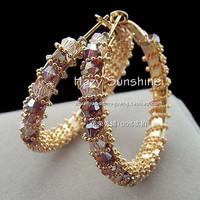 2013 New Style colorful Crystal Large Hoop Earrings Anti-allergic Popular Wholesale Big Circle Earrings