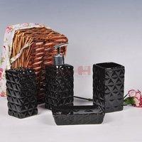 High quantity bathroom product Ceramic bathroom set  4 piece of one set black mosaic bathroom accessories