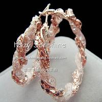 2013 New Style Crystal Large Rose Gold Hoop Earrings Anti-allergic Popular Accessories Wholesale Big Circle Earrings
