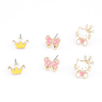 (Min order $15,can mix) Free Shipping Fashion Jewelry Oil Earring Gold Plated Stud Earrings 3 Pairs For Lady.EA76