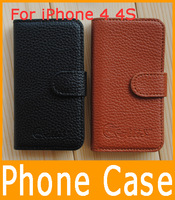 Free Shipping Clamshell Protective Case Around Leather Phone Case, Mobile Leather Sheath Cover Case For Apple iPhone 4 4s