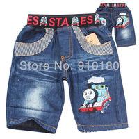 New fashion 6pcs/lot baby boys girls summer cartoon tomas train shorts jeans pants children summer clothing