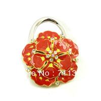 foldable purse hanger wholesale handbag hook wedding favor metal snap bag hook flower designer handbag for tables free shipping