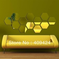 Free shipping!12pcs *28cm *Hexagon 3D wall stickers decoration supplies mirror wall stickers 3019