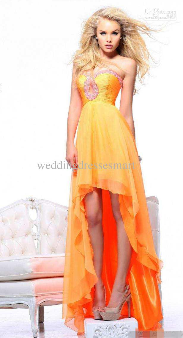 2013 New Arrival Real Cheap Fast Delivery Sexy Strapless Ruffle Multi Layer Bling Pearls Orange Chiffon Party Dresses Prom Dress(China (Mainland))