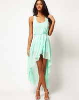 New fasion mint green high low Dress women,Women's love chiffon dress casual asymetrical dresses