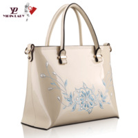 Tangjiahe embroidered handbag 2013 women's japanned leather handbag cowhide cross-body fashion bag