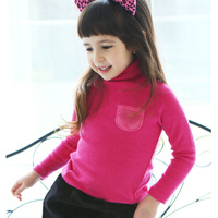 free shipping 8201 children's clothing child plush pocket basic shirt female child turtleneck long-sleeve T-shirt baby spring