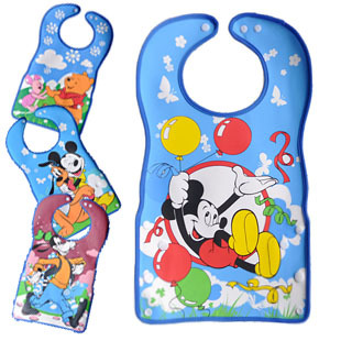 Pu cartoons cartoon baby waterproof three-dimensional rice pocket child disposable rice pocket bib(China (Mainland))