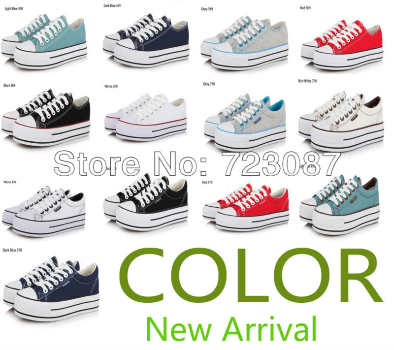 2013 Summer 12 Low Style Sponge Cake Platform Canvas Shoes Sneakers Women's Canvas Shoe 7 Colors Size 35-39(China (Mainland))