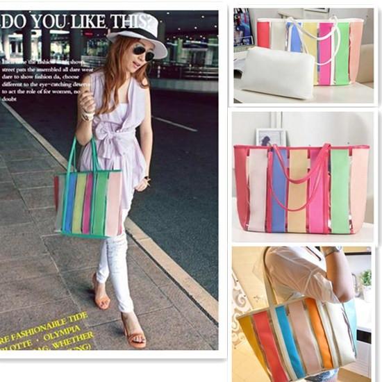 Colorful Striped Rainbow Casual Shoulder Bag Women Girl Fashion Candy Sweet Handbag Jelly Bag Transparent Tote(China (Mainland))