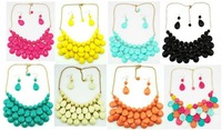 New arrived Free Shipping Briolette Teardrop J Bead Bubble Bib Statement Necklace Earrings by Fashion