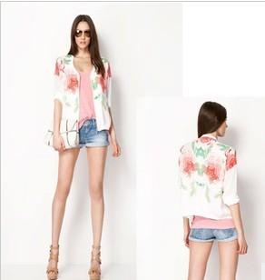 2013 New Summer Brand Women's Fashion Short Sleeve Rose Printed Thin Cardigan,Zipper On Front Of Ladies Short Jackets/coat xf06(China (Mainland))