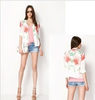 2013 New Summer Brand Women's Fashion Short Sleeve Rose Printed Thin Cardigan,Zipper On Front Of Ladies Short Jackets/coat xf06
