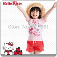 hello kitty cat children clothing set 2 pcs suit KIMOCAT girl's shirt  shirts + shorts pants whole suits outfits